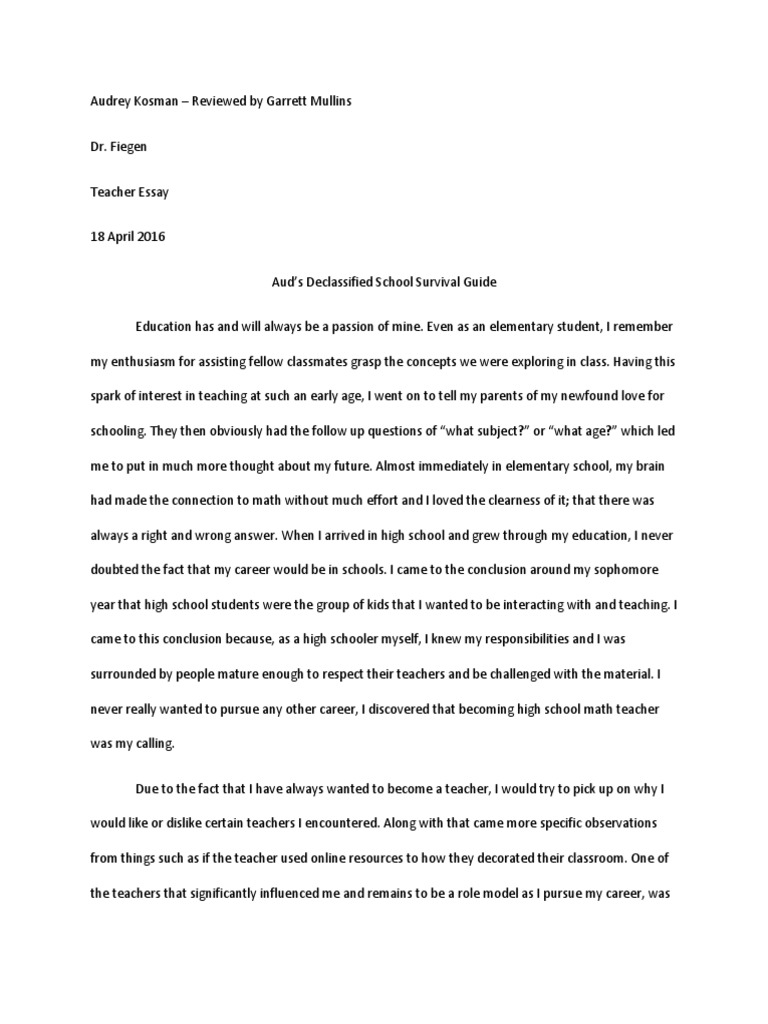 free essays on why i want to become a teacher