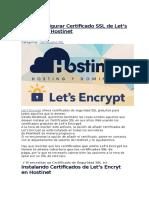 Cómo Configurar Certificado SSL de Lets Encrypt en Hostinet