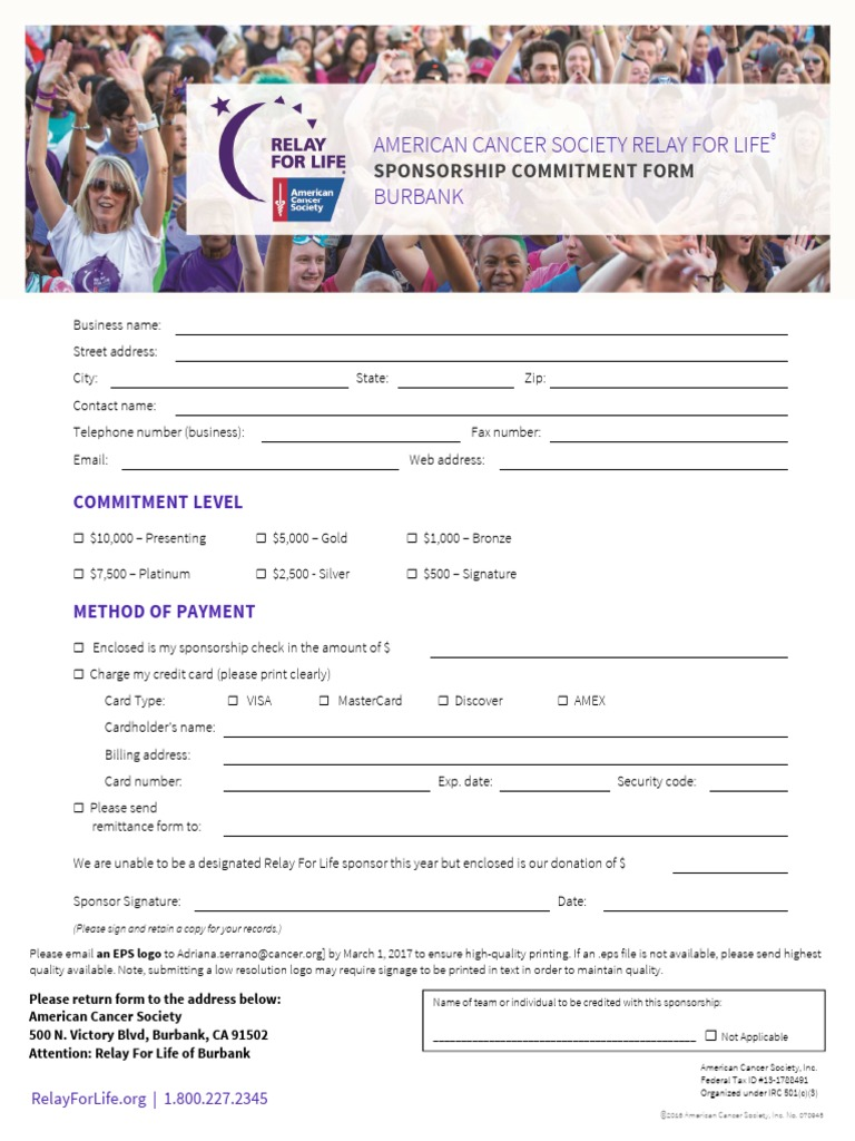 Sponsorship Commitment Form Credit Card Payments