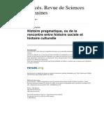 09 - CERUTTI, Simona. Histoire Pragmatique, Ou de La Rencontre Entre Histoire Sociale Et Histoire Culturelle