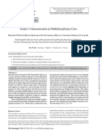 Communication in Multidisciplinary Care.