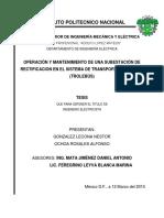 Operacion y mantenimiento de una subestacion de rectificacion en el sistema de transporte electrico trolebus.pdf