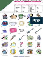 Kitchen Utensils Esl Vocabulary Matching Exercise Worksheet