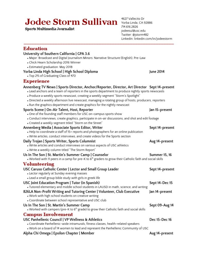 jodeestormsullivan resume2 17 | University Of Southern California