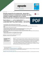 Estudio Prospectivo de Maduraci n Desarrollo e Incidencia Lesional en Balonmano Formativo de Lite Puede El Estado Madurativo Ser Un Factor Determinant