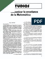 Humanizar La Enseñanza de La Matematica