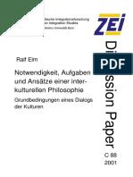 Elm Ralf (2001) Notwendigkeit, Aufgaben Und Ansaetze Einer Interkulturellen Philosophie. Grundbedingungen Eines Dialogs Der Kulturen