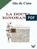Cusa,De, Nicolás -La Docta Ignorancia