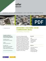 Biogenic Sulfuric Acid Corrosion