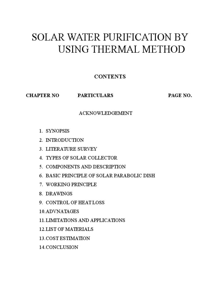 Solar Water Purification by Using Thermal Method   Solar