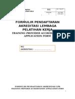 F.01 {Formulir Pendaftaran Akreditasi LPK}