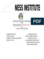 minor project report on reliance infrastructure