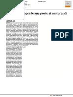 L'Università apre le sue porte ai maturandi - Il Corriere Adriatico dell'8 febbraio 2017