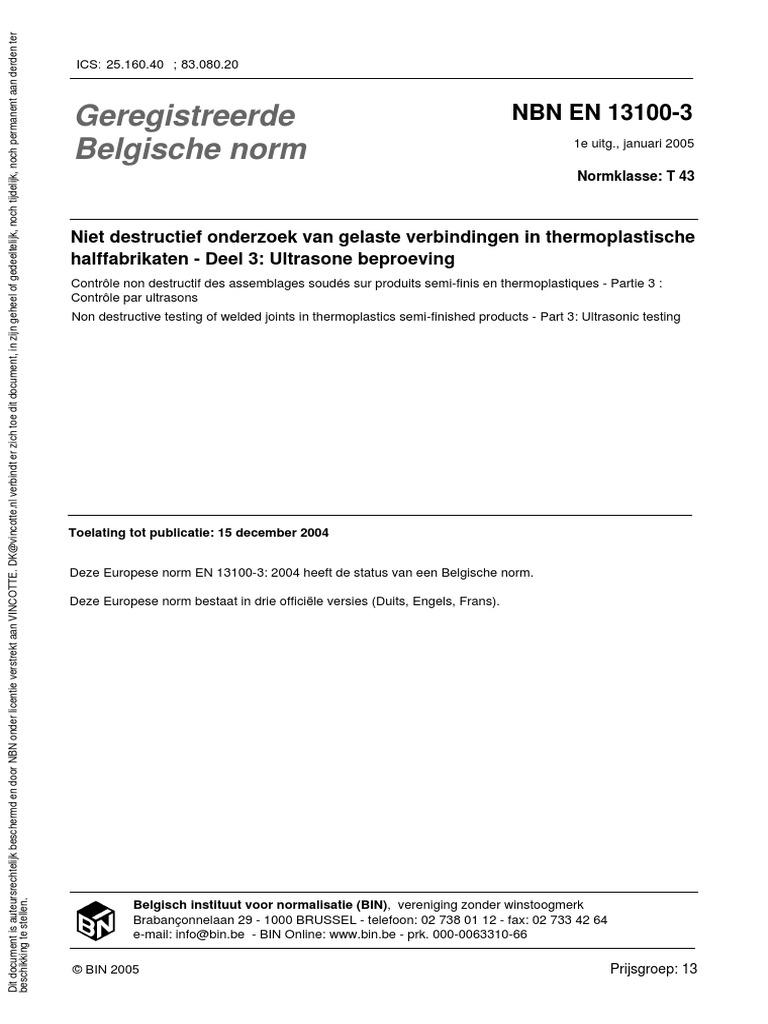 Nbn En 13100 3 2005 1pdf Nondestructive Testing Engineering
