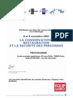 CONSERVATION-RESTAURATION ET SECURITE DES PERSONNES - 2007 + 2010 + JOCONDE