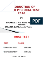 INTRODUCTION OF ENGLISH PT3 ORAL TEST 2016