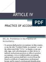 ARTICLE IV- Practice of Accountancy
