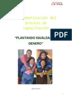 Sistematizacion Igualdad Género SEDES-Plan 2016