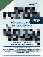 IDENTIFICAÇÃO E TRANSFORMAÇÃO DAS UNIDADES DA PAISAGEM NO MUNICÍPIO DE SÃO JOSÉ DOS CAMPOS (SP) DE 1500 A 2000