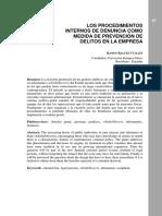 Los Procedimientos internos de denúncia como medida de prevención de delitos en la empresa - Ramon Raguès i Vallès