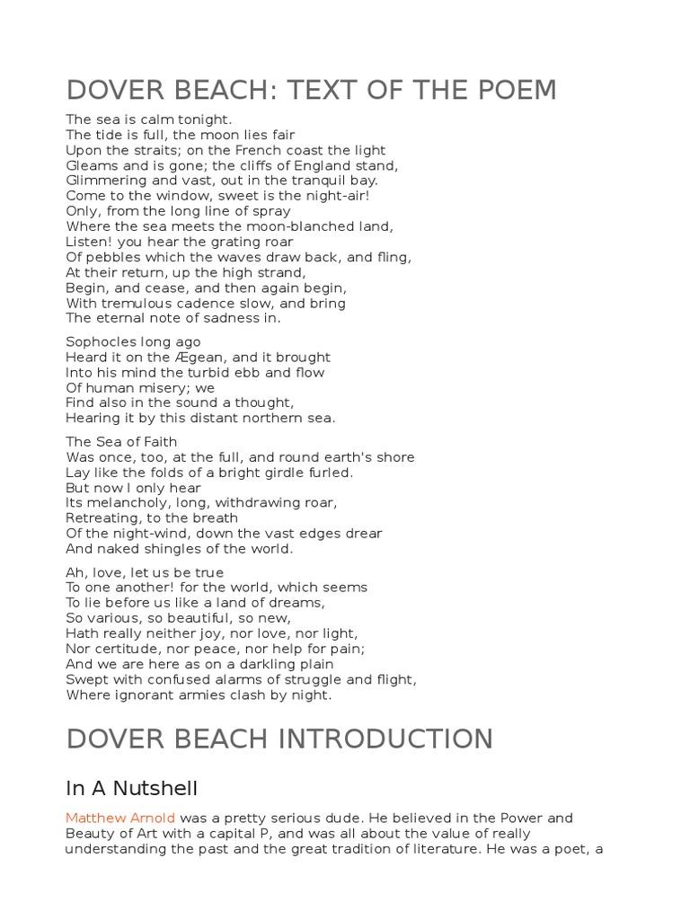 Dover Beach Metre Poetry Poetic Form