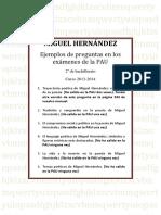 Preguntas PAU Miguel Hernández