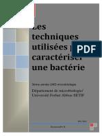 Cours 2- Les Techniques Utilisées Pour Caractériser Une Bactérie