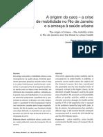 Cadernos Metropolis - A origem do caos – a crise de mobilidade no Rio de Janeiro e a ameaça à saúde urbana
