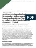 As Biotecnologias Aplicadas à Reprodução e Melhoramento Animal_ Inseminação Artificial, Transferência de Embriões, Fertilização in Vitro e Clonagem – Parte 2 BeefPoint