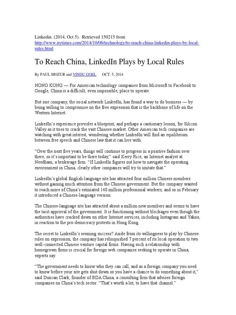To reach china linkedin plays by local rules linked in to reach china linkedin plays by local rules linked in international politics malvernweather Images