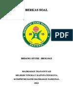 Soal Bidang Studi Biologi Mts Seleksi Tk Kab Kota Kompetisi Sains Madrasah Ksm Nasional 2013