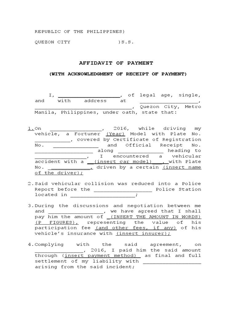 Affidavit of Payment Affidavit – Legal Receipt of Payment