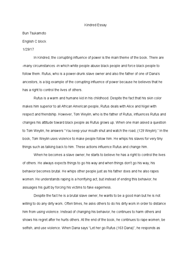 Kindred Essay V Essay About Paper also Example Of An Essay With A Thesis Statement  Custom Made Business Plan