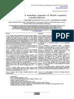 Phenolic profiles and antioxidant properties of Physalis angulata L. as quality indicators