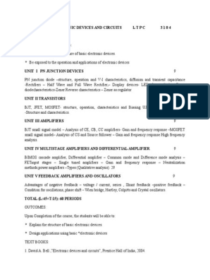 EC6202 ELECTRONIC DEVICES AND CIRCUITS Syllabus doc | Amplifier