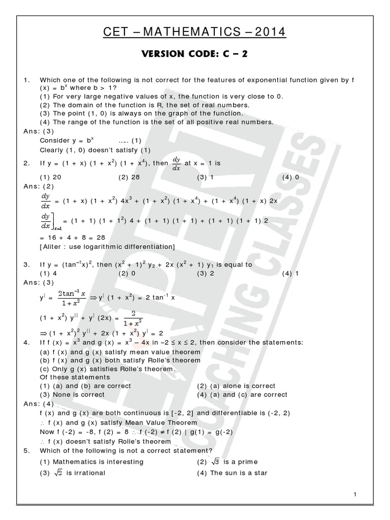 Karnataka CET Maths Solved Question Paper 2014.pdf
