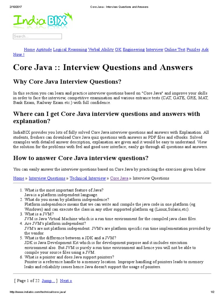 Core Java Aptitude Questions And Answers Pdf