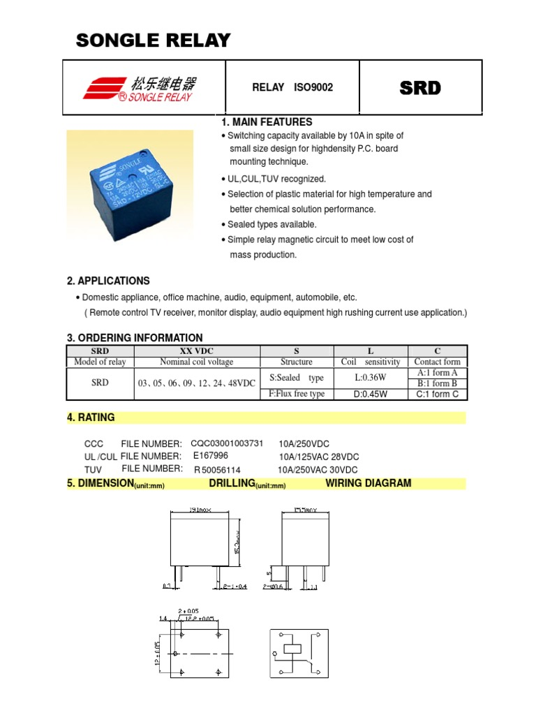1509855731 srd 05vdc sl c datasheet pdf relay inductor form c contact wiring diagram at fashall.co