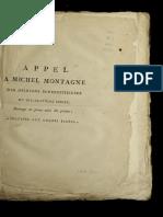 Appel a Michel Montagne Des Opinions Superstitieuses