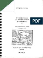 Jacques Lacan, D'un discours qui ne serait pas du semblant, Le séminaire 18, 1971, Version LDDCM 1995