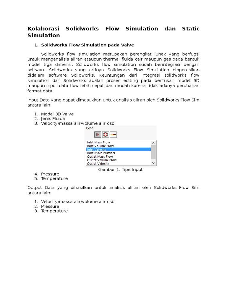 Kolaborasi Solidworks Flow Simulation Dan Static Simulation
