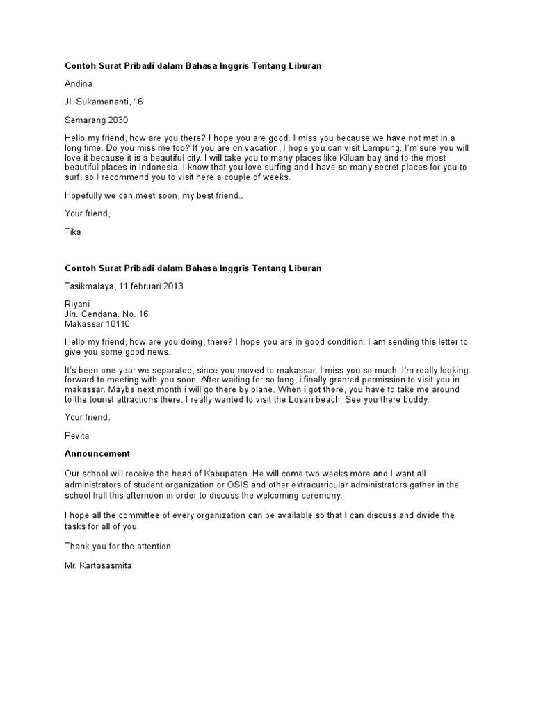 Contoh Surat Pribadi Dalam Bahasa Inggris Tentang Liburan
