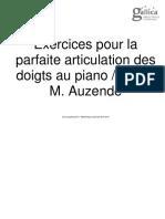 Auzende - Exercices Pour La Parfaite Articulation Des Doigts Au Piano PDF