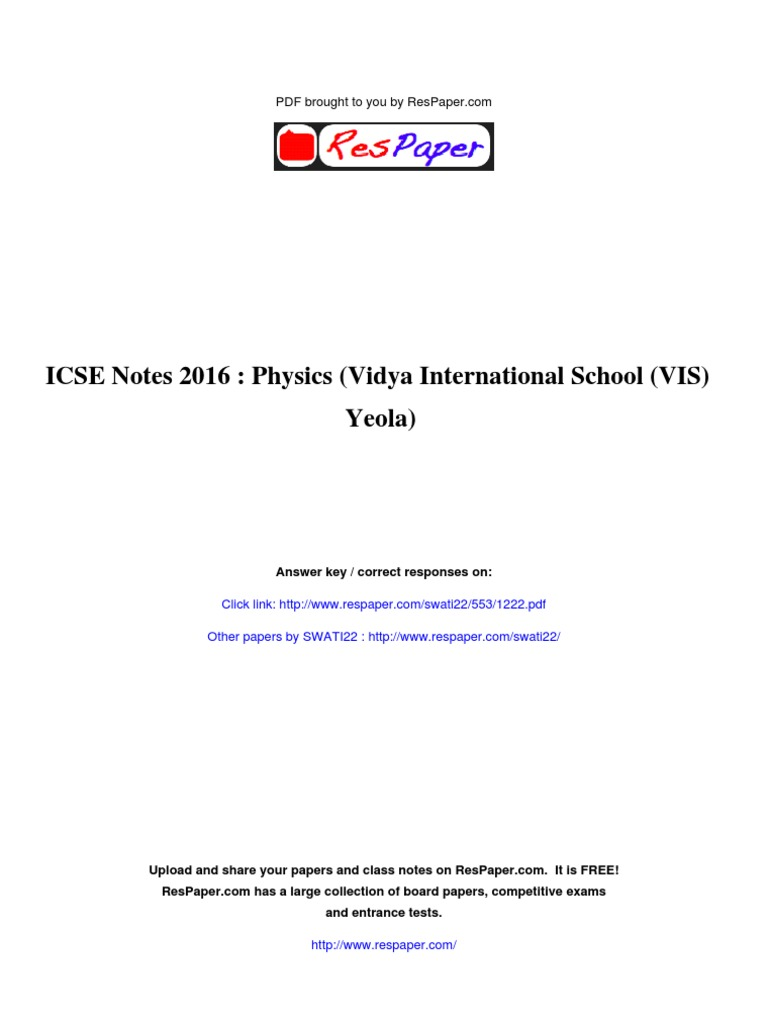 ICSE Notes 2016 Physics   Evaluation Methods   Tests
