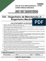 Engenheiro de Manutencao Jr Engenheiro Mecanico CPTM 2012