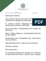 Palabras del Canciller Miguel Vargas en entrega  Guia Inversionista Amcham CEIRD