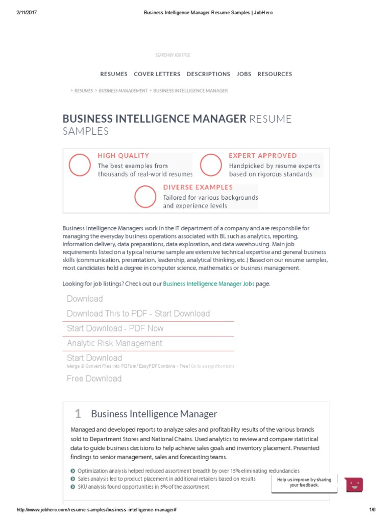 business intelligence manager resume samples jobhero business