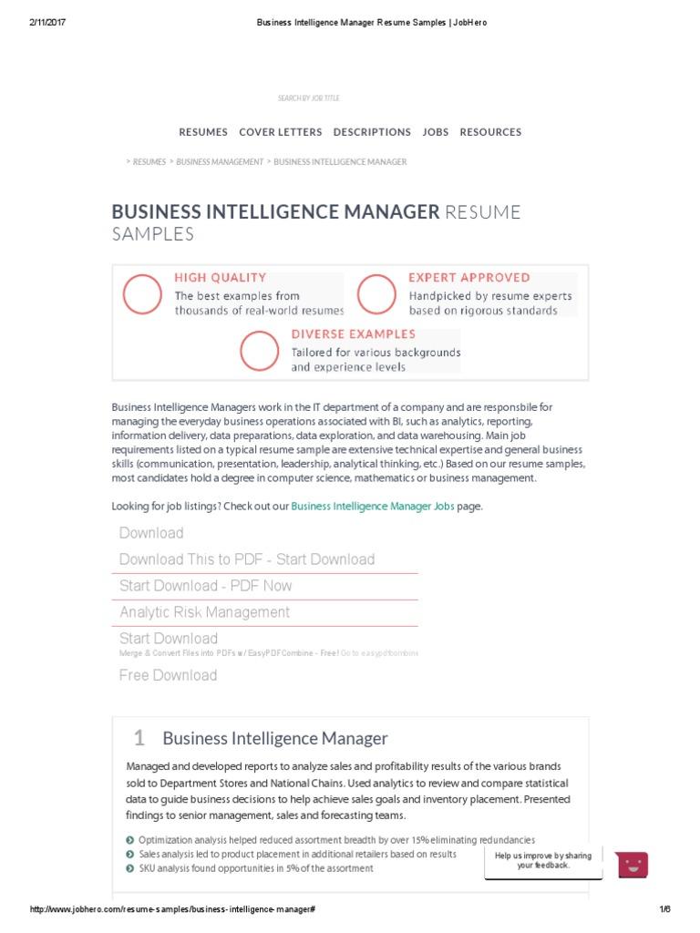 business intelligence manager resume samples  jobhero