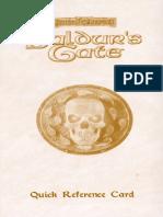 Baldur's Gate Reference Card