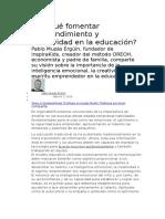 Por Qué Fomentar Emprendimiento y Creatividad en La Educación